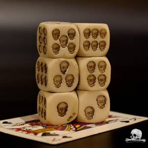 Natural Skull Dice 6 pcs